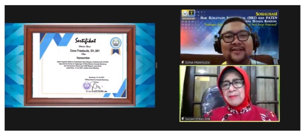 IMG 20210721 084832 Kegiatan Sosialisasi Hak Kekayaan Intelektual (HKI) dan Pendaftarannya bagi Dosen Dosen di Lingkungan STIKes Dharma Husada Bandung oleh Kantor Wilayah Kementrian Hukum dan Hak Asasi Manusia Jawa Barat STIKes